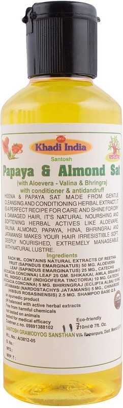 Khadi India Papaya & Almond sat with Aloevera - Valina & Bhringraj with Conditioner & Antidendruff Shampoo(210 ml)(210 ml)
