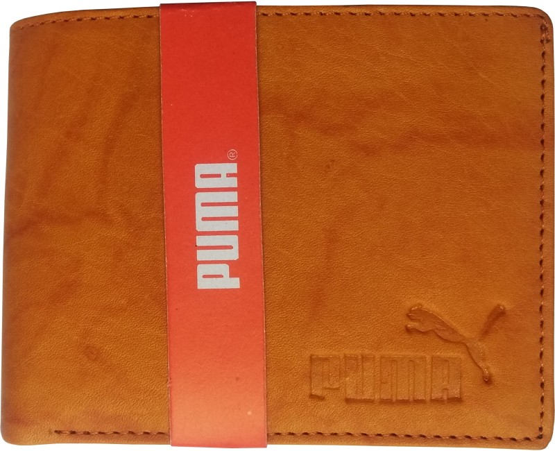 Puma Men Casual, Trendy Tan Genuine Leather Wallet(8 Card Slots)