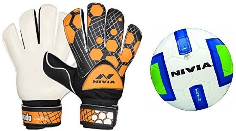 Nivia Combo of two - one Pair of Torrido Goalkeeping Gloves (Size Large) + one Torrido Football (Size-5) Football Kit