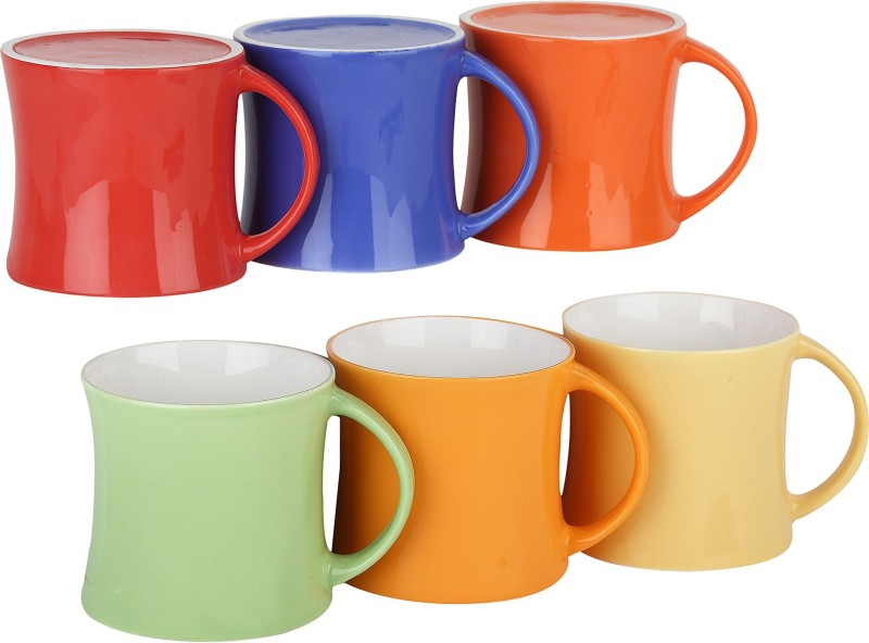 Femora Bone China Classical Multicolor Microwave Safe Tea Cup Coffee for Office & Home Bone China Mug(150 ml, Pack of 06)