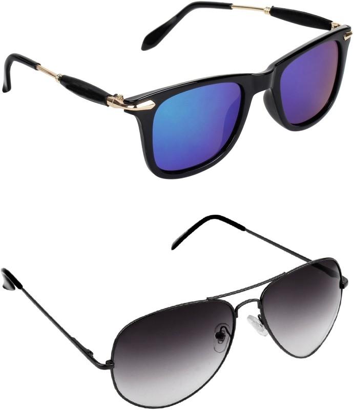 Pogo Fashion Club Wayfarer, Aviator, Over-sized Sunglasses(Black, Blue) image