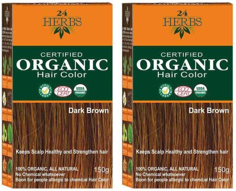 24 Herbs 100% Certified Organic Dark Brown Hypoallergenic Hair Color - Twin Pack Hair Color(Dark Brown)