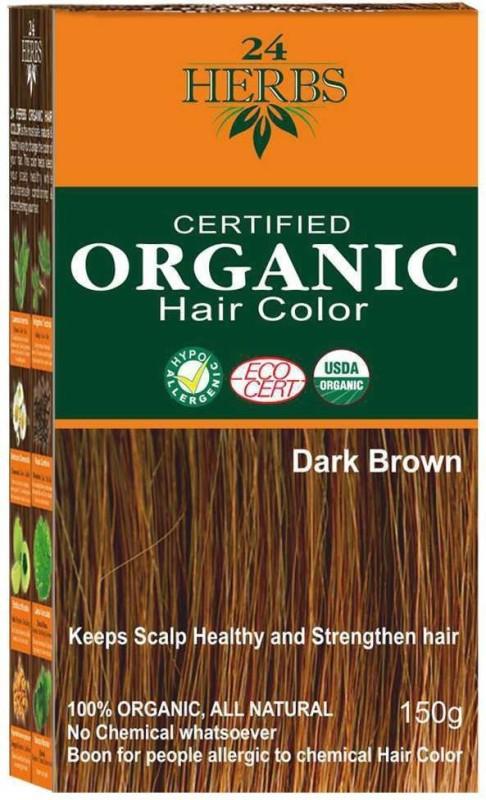 24 Herbs Certified Organic Dark Brown Chemical Free Hair Color(Dark Brown)