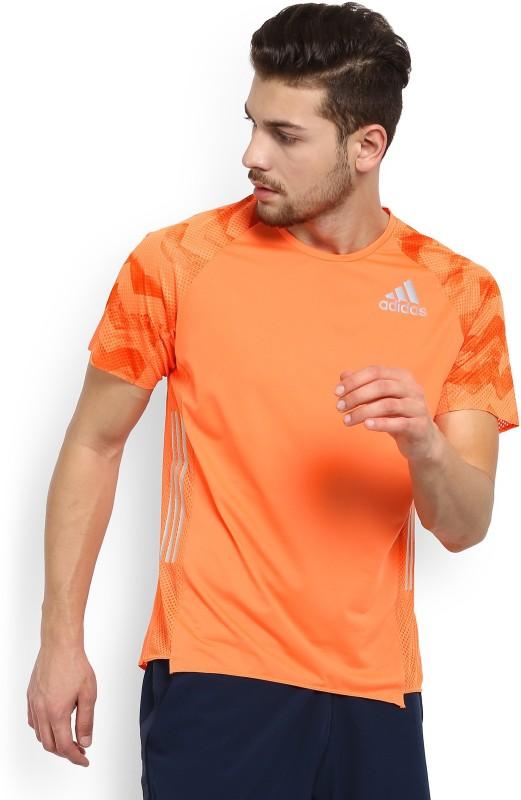 ADIDAS Solid Men Round or Crew Orange T-Shirt