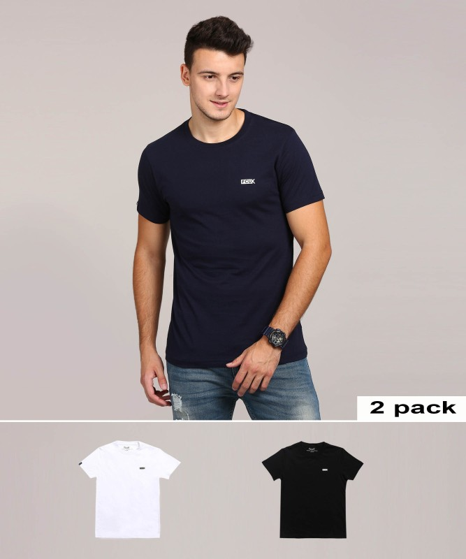 French Connection Solid Men Round Neck White, Blue T-Shirt(Pack of 2)