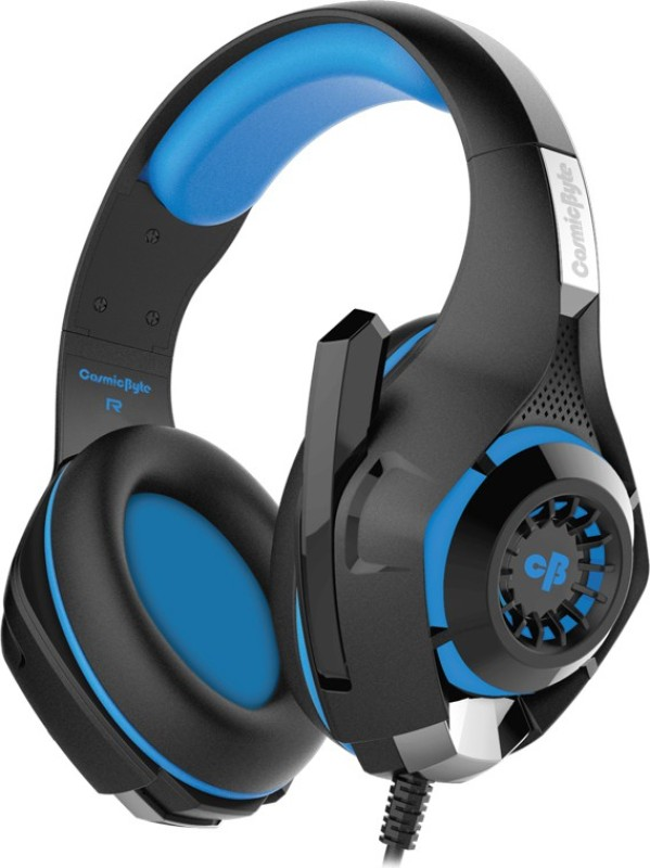 Cosmic Byte GS410 Headset with Mic(Black/Blue, Over the Ear)