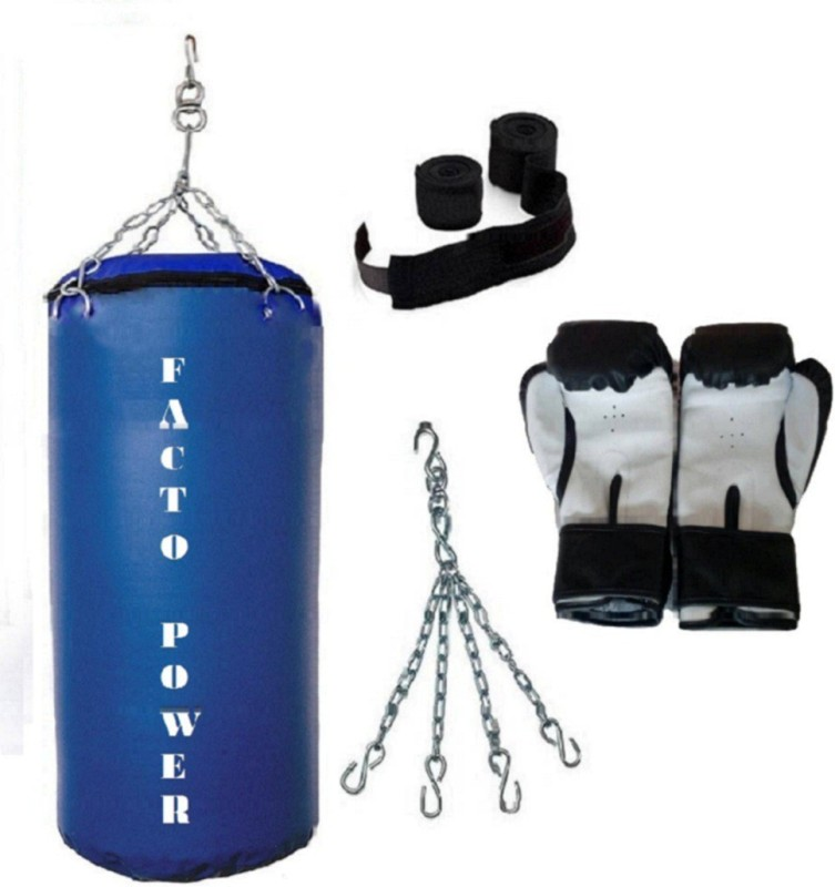 FACTO POWER 4.5 Feet Long, SRF - STANDARD Material, BLUE Color, Unfilled with Hanging Chain with 9 Feet Long BLACK Color Hand Wraps Pair & Boxing Gloves Pair Boxing Kit