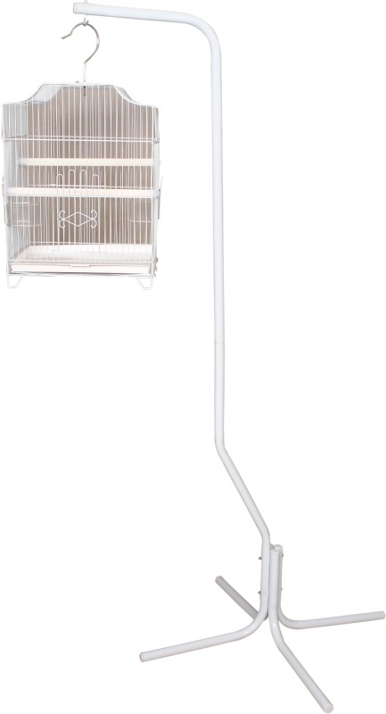Aquapetzworld 4 Leg Bird Cage Stand Bird Play Stand with Cage(White) Bird House