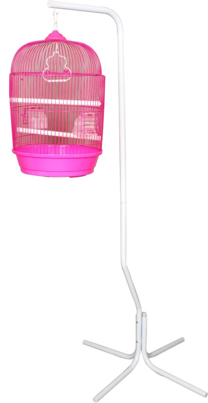 Aquapetzworld 4 Leg Bird Cage Stand Bird Play Stand with round cage(Pink) Bird House