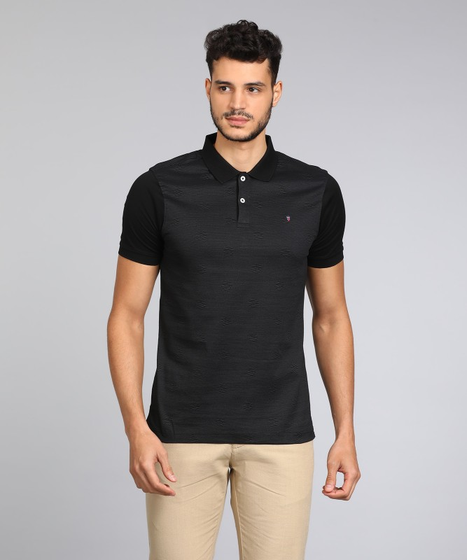 LP Louis Philippe Color block Men Polo Neck Black T-Shirt