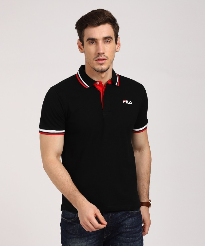 Fila Solid Mens Polo Neck Black T-Shirt