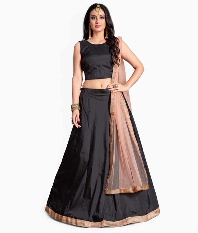Fabron Solid Semi Stitched Lehenga, Choli and Dupatta Set(Black)