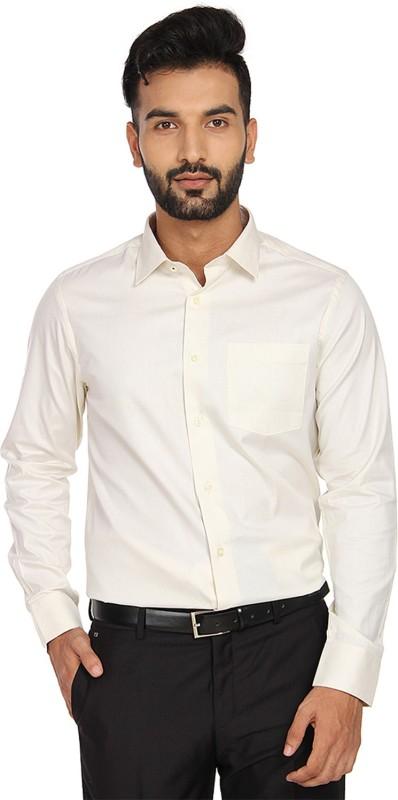 Blackberrys Men Solid Formal Beige Shirt