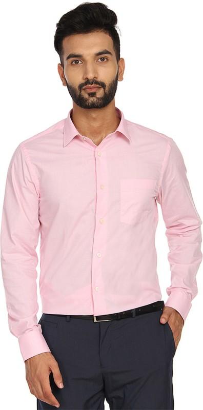 Blackberrys Men Solid Formal Pink Shirt