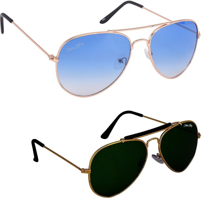 Silver Kartz Aviator Sunglasses(Blue, Green) image
