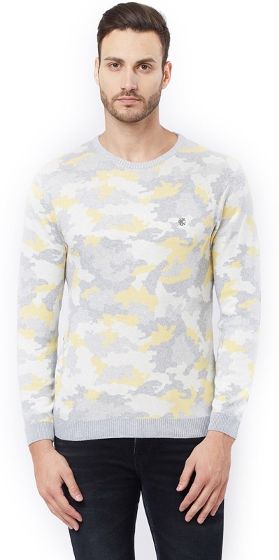 Killer Printed Round Neck Casual Men's Yellow Sweater