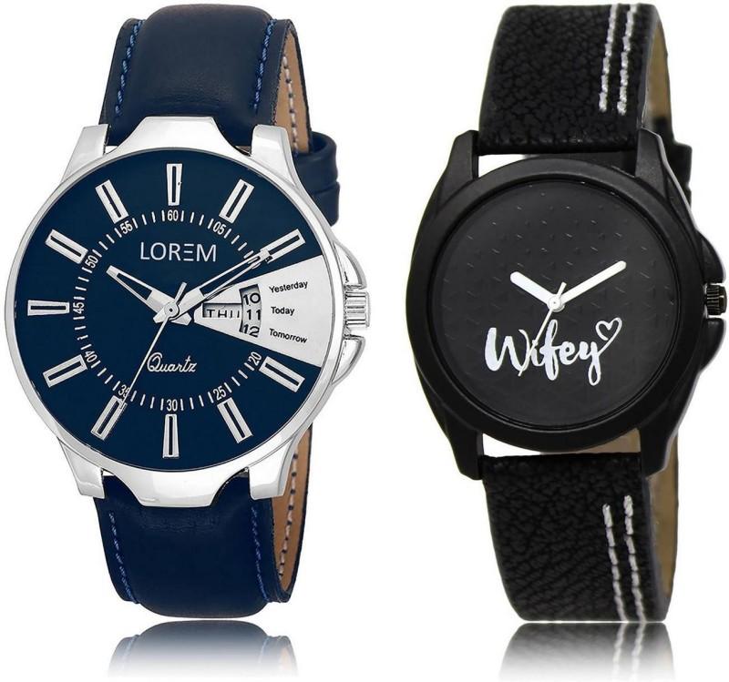 LOREM Watch-23-234 COMBO Black & Blue Round Boy's & Girl's Leather Analog Watch  - For Men & Women