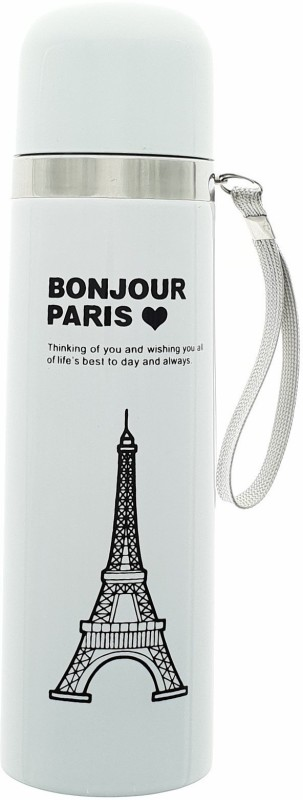 HUSKER stainless steel vacuum flasks water bottle ( White Paris) 500 ml Flask(Pack of 1, White)
