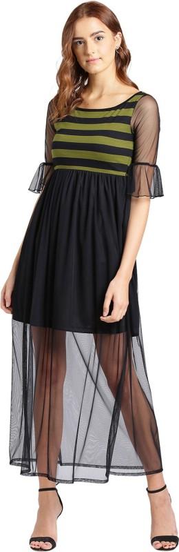 Texco Women Maxi Green, Black Dress