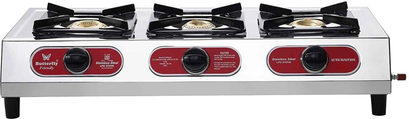 Butterfly Friendly Steel Manual Gas Stove(3 Burners)