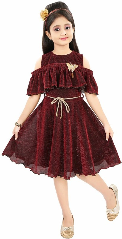 Style Junction Girls Midi/Knee Length Party Dress(Maroon, Fashion Sleeve)