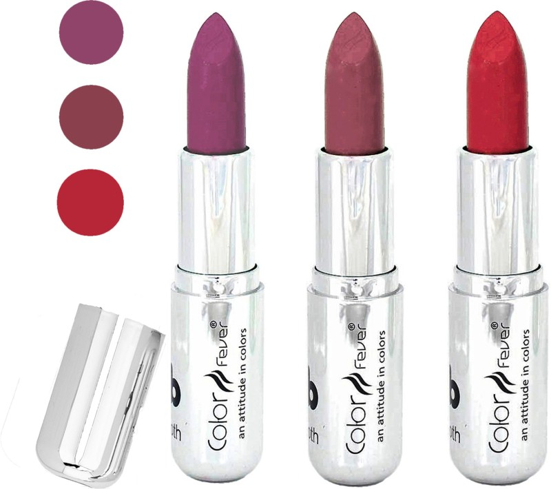 Color Fever creamy matte non transfar lipstick for ladies(light purple-copper-red, 12 g)