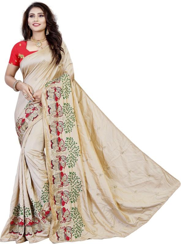Aruna Sarees Embroidered Kalamkari Art Silk Saree(Beige)