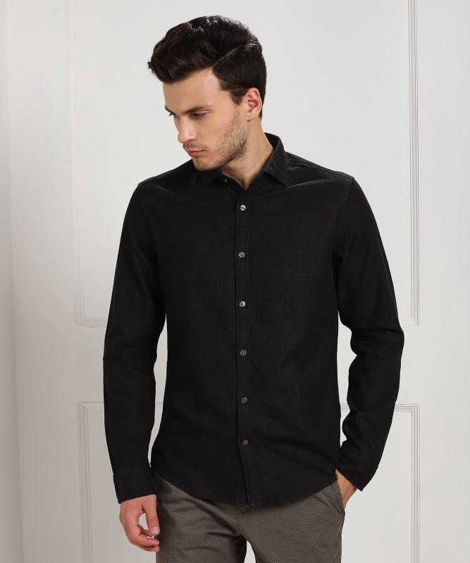 Tommy Hilfiger Men Solid Casual Black Shirt