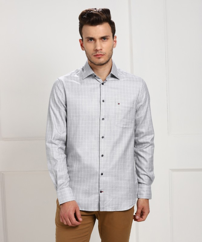 Tommy Hilfiger Men Checkered Casual Grey, White Shirt