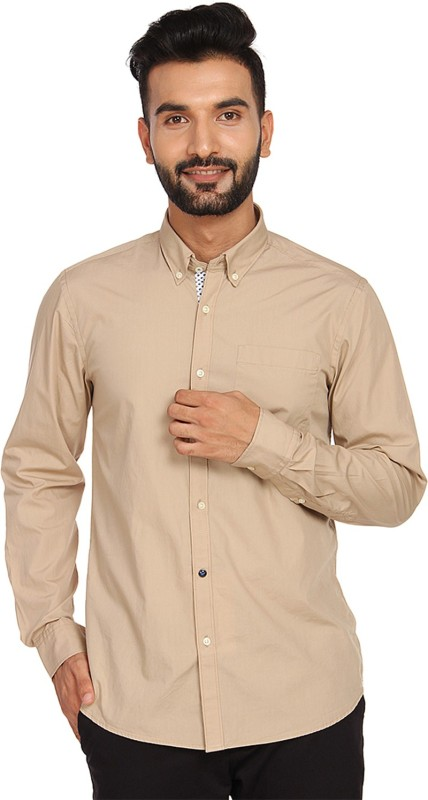 Blackberrys Men Solid Casual Beige Shirt
