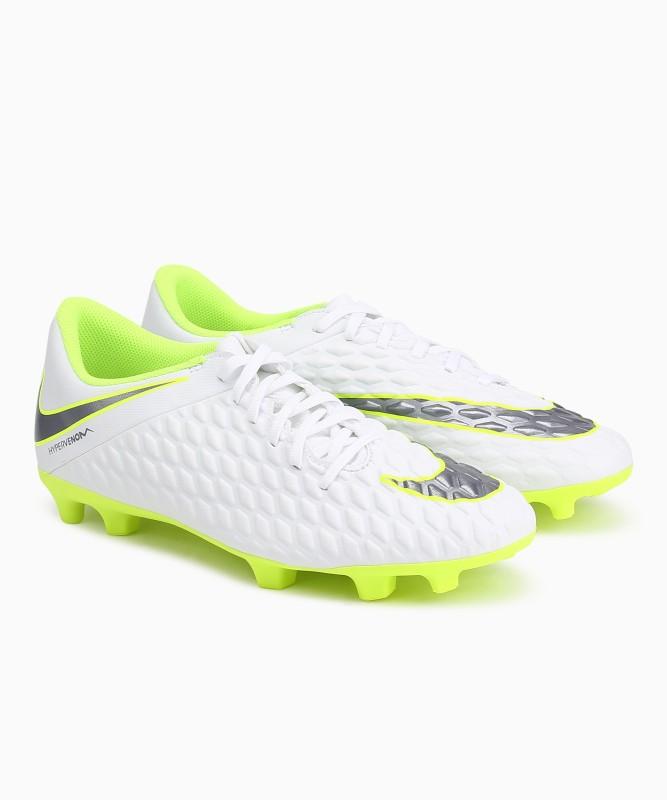 Nike HYPERVENOM 3 CLUB FG Football Shoes For Men(White, Green)