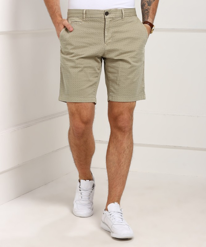 Tommy Hilfiger Printed Mens Beige Basic Shorts, Regular Shorts