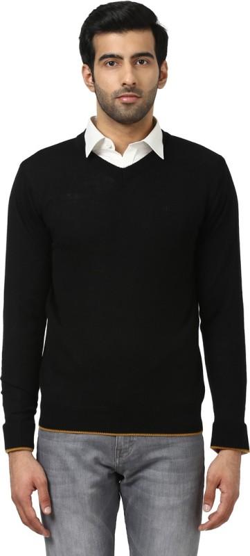 Raymond Solid V-neck Formal Men Black Sweater