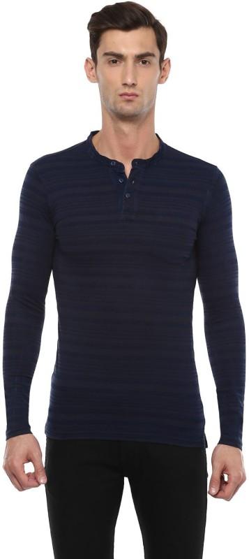 Peter England Striped Men Henley Dark Blue T-Shirt