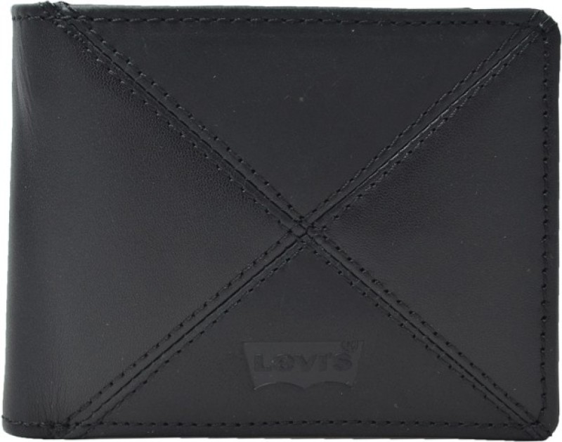 Levis Men Formal Black Genuine Leather Wallet(8 Card Slots)