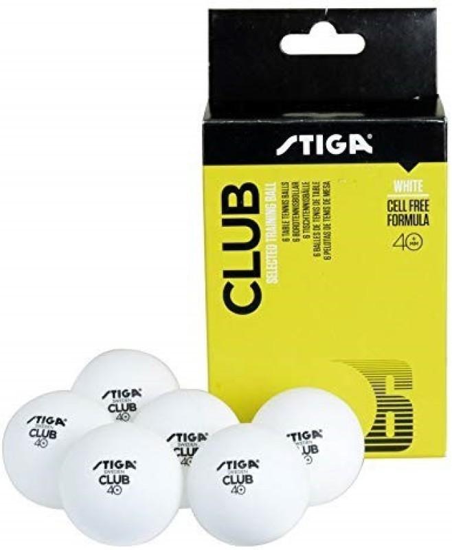 Stiga club Tennis Ball(Pack of 6, White)