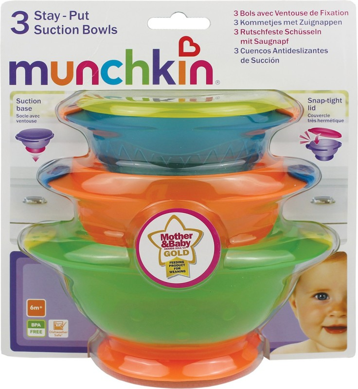 Munchkin Stay-Put Suction Bowls - 3Pk  - Plastic(Multicolor)
