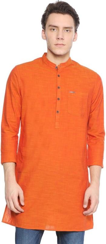 Peter England Men Solid Straight Kurta(Orange)
