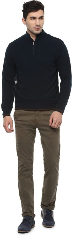 Peter England Self Design High Neck Casual Men Reversible Multicolor Sweater