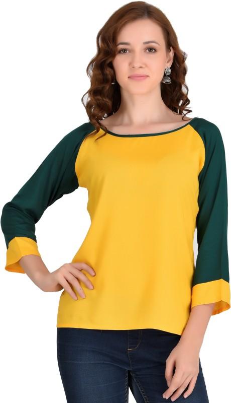 VAANYA Casual 3/4th Sleeve Solid Women's Yellow, Green Top