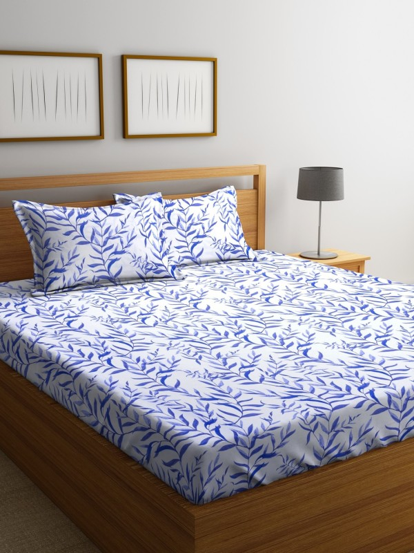 Raymond Home 104 TC Cotton Double Printed Bedsheet(Pack of 1, Blue)