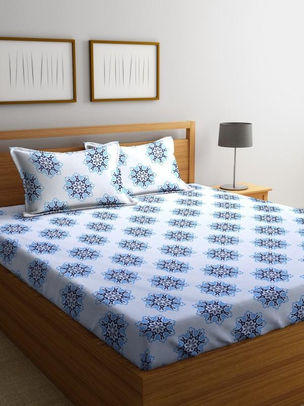 Raymond Home 104 TC Cotton Double Motifs Bedsheet(Pack of 1, Blue)