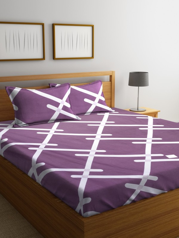 Raymond Home 104 TC Cotton Double Geometric Bedsheet(Pack of 1, Burgundy)