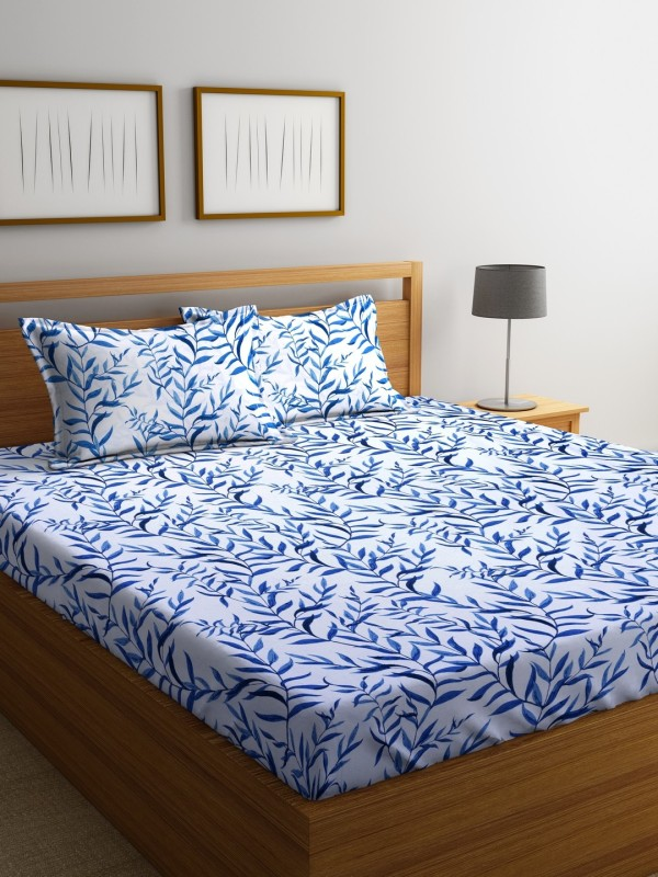 Raymond Home 104 TC Cotton Double Printed Bedsheet(Pack of 1, Turquoise)