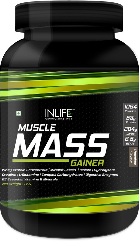 Inlife Muscle Mass Gainer Protein Powder with Whey Protein, Complex Carbs, Digestive Enzymes Weight Gainers/Mass Gainers(1 kg, Chocolate)