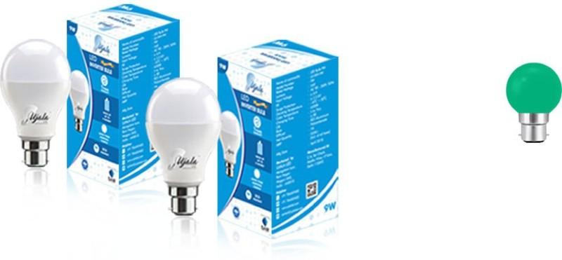 Ujala Led 9 W, 0.5 W Round B22 Inverter Bulb(White, Green, Pack of 3)