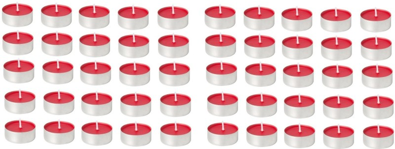 Kala Decorators 50Pcs Quality Red Strawberry Smokeless Color Tea Light Candle for Party,Home Candle(Red, Pack of 50)