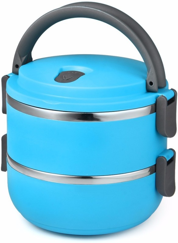 LIFEMUSIC best selling high grade hot and cold 2 Layer Round Lunch Box Food Container double Insulated Round Lunch Box Desirable For Office/School/College/Travel Airtight Leak Proof With Lid Homeware Multicolored 2 Containers Lunch Box (1500 ml) 2 Containers Lunch Box(1500 ml)