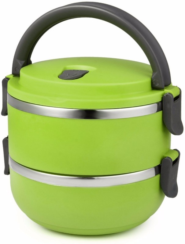 LIFEMUSIC best selling hot and cold 2 Layer Round Lunch Box Food Container double Insulated Round Lunch Box Desirable For Office/School/College/Travel Airtight Leak Proof With Lid Homeware Multicolored 2 Containers Lunch Box (1500 ml) 2 Containers Lunch Box(1500 ml)
