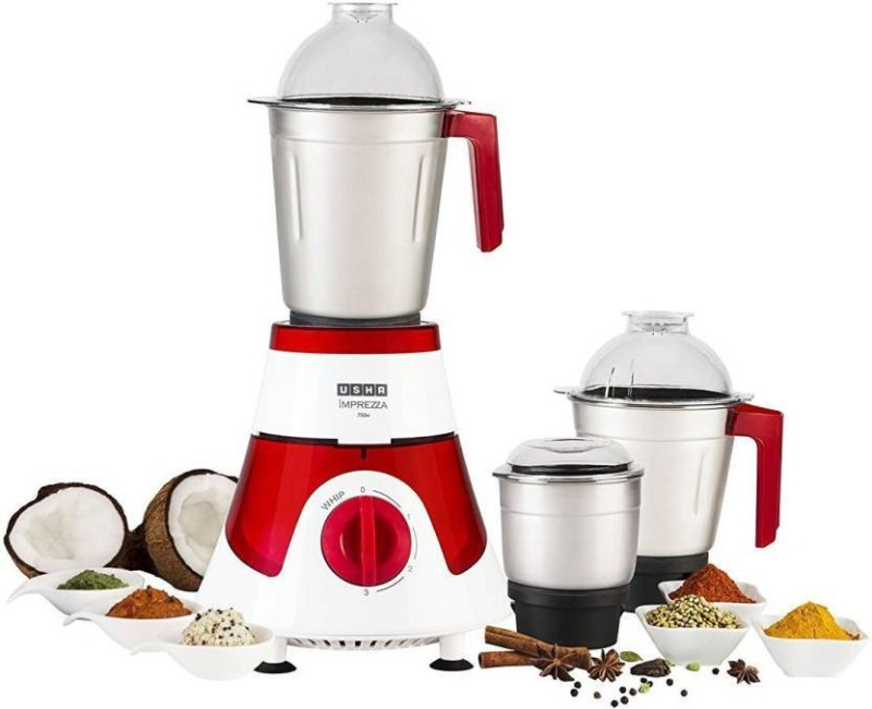 Usha 3576 750 W Mixer Grinder(White, Red, 3 Jars)